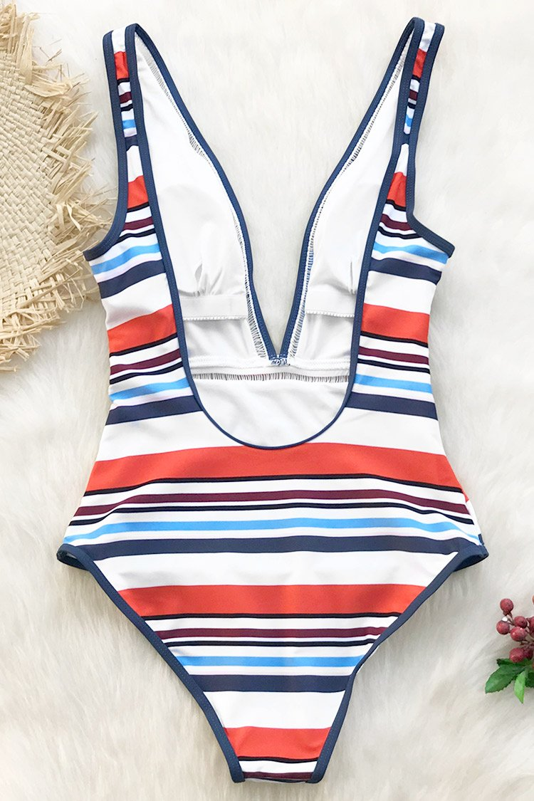Colorful Stripe Plunging One-Piece Swimsuit