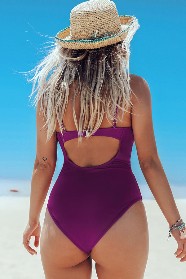Purple Knotted One-Piece Swimsuit