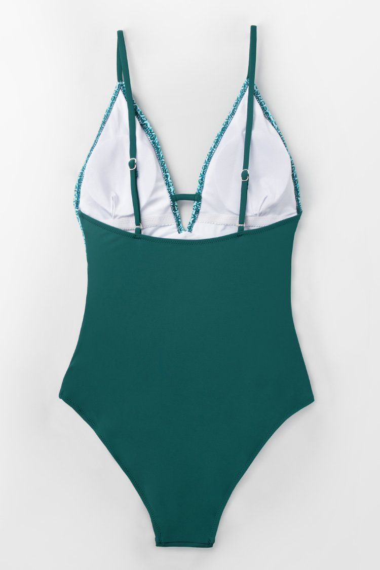 Peacock Green Plunging One-Piece Swimsuit