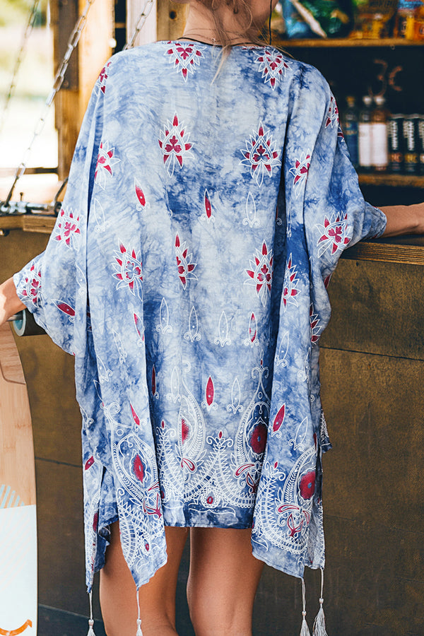 Blue Boho Print Short Cover Up