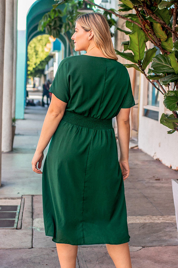 Green Solid V-neck Plus Size Dress