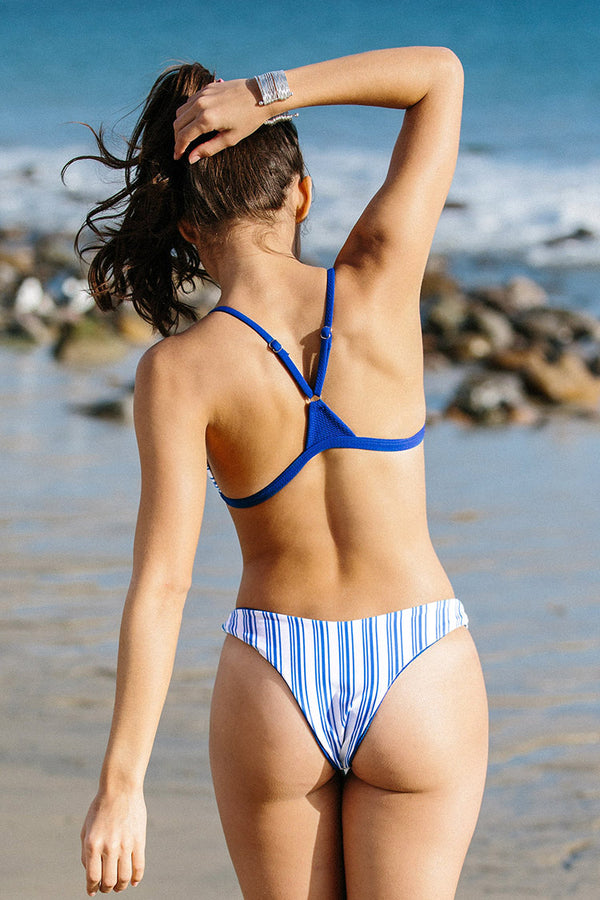 Sporty Blue Striped Bikini