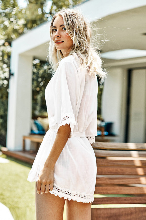 White Scallop trim Belted Cover Up