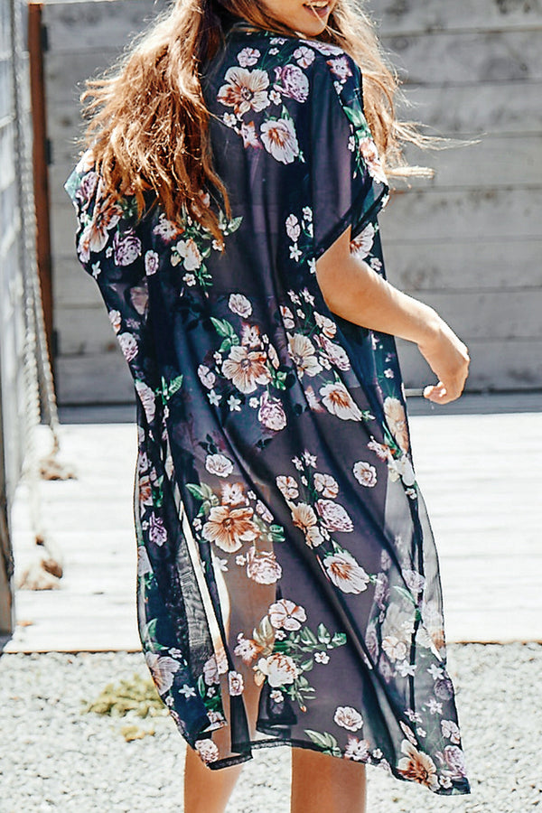 Navy Blue Floral Print Short Sleeve Cover Up