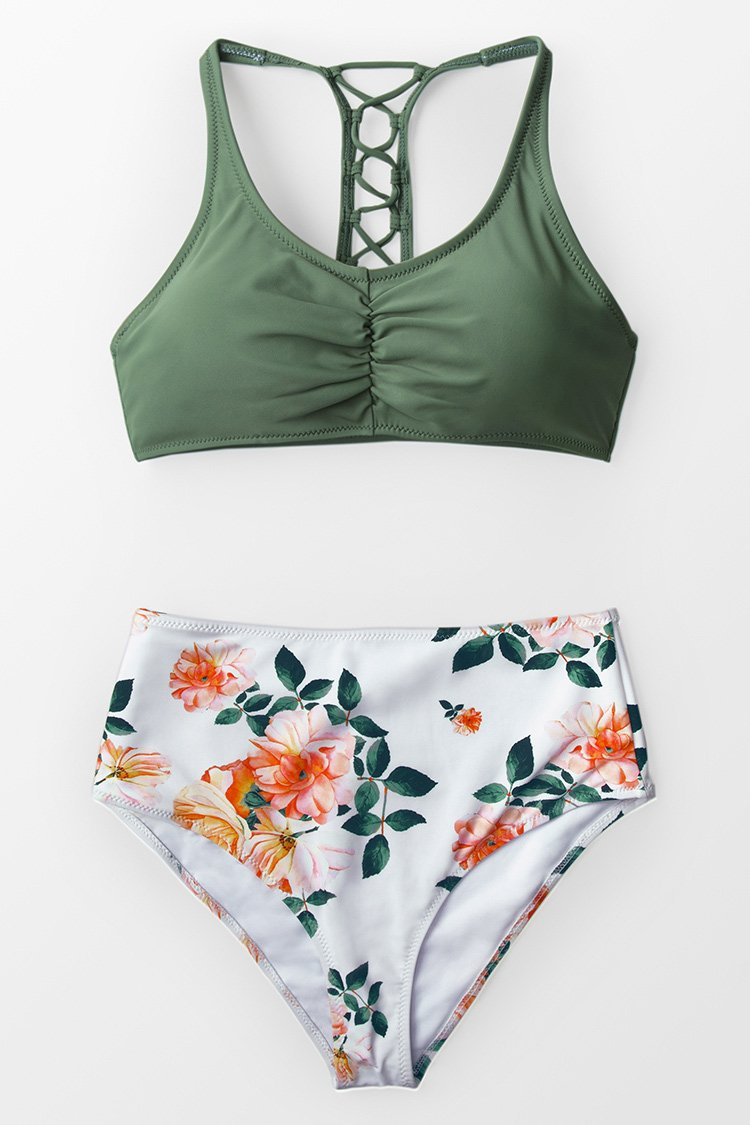 Celadon Green And Floral Bikini