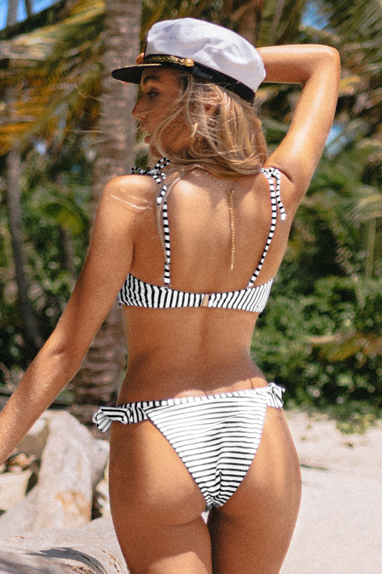 Nautical Blue Striped Ruffled Bikini