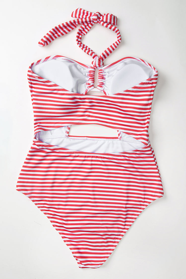 Red and White Stripe Halter One-Piece Swimsuit