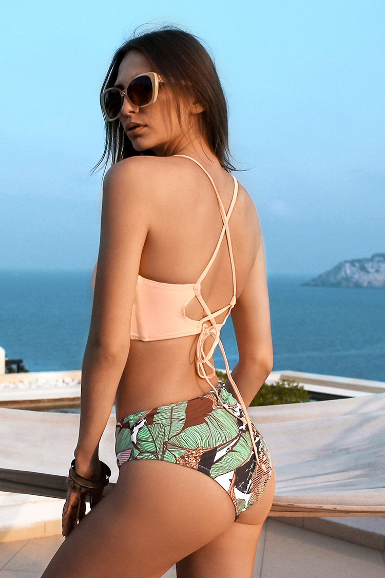 Solid Lace Up Bikini and Leafy Bottom