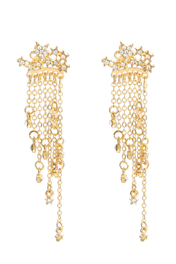 Gold Star Cascade Earrings