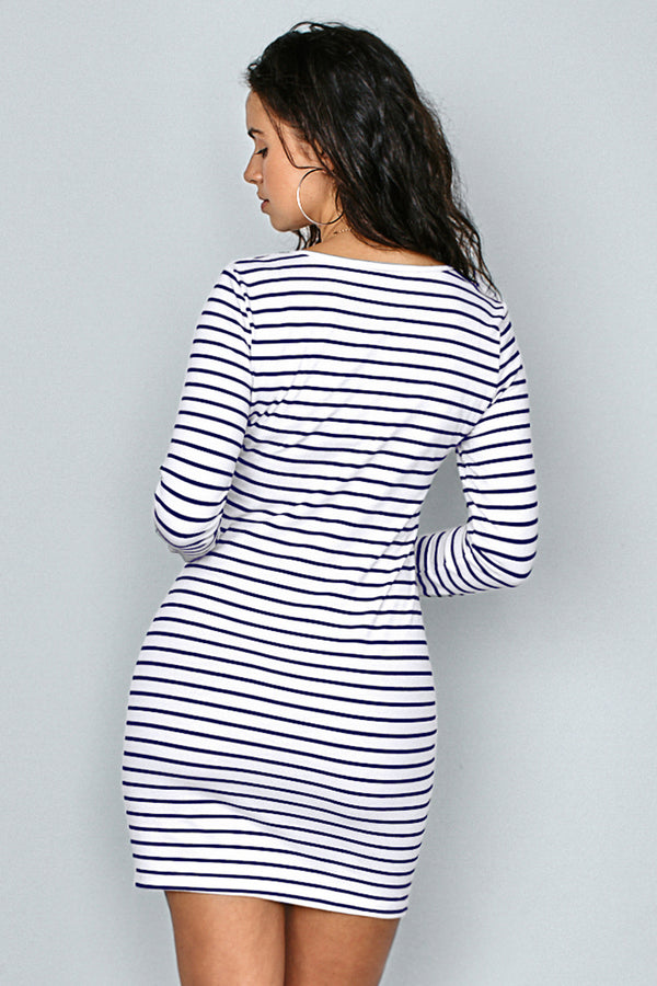 Striped Irregular Hem Mini Dress