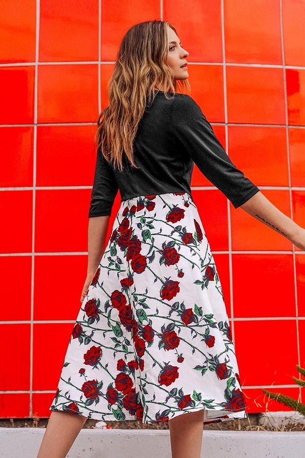 Black and Floral Print Midi Dress
