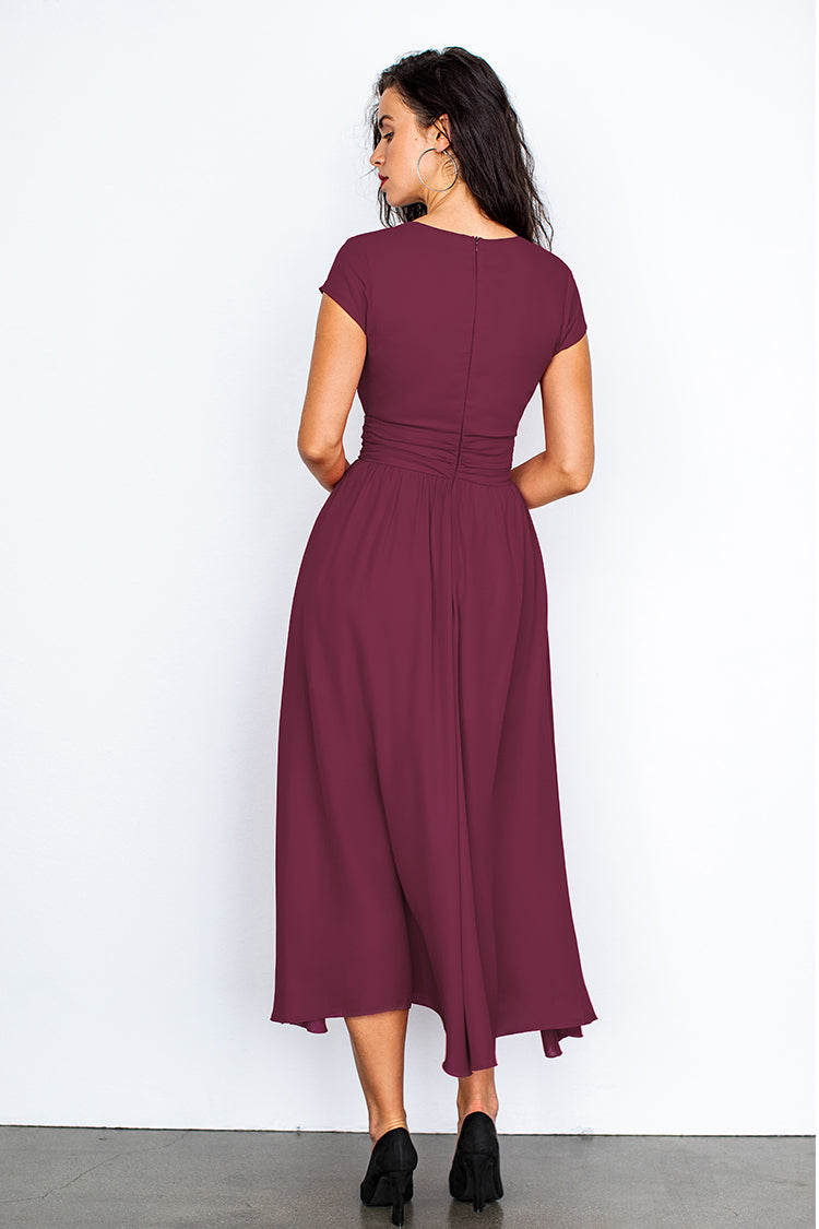 Wine V-Neck Shirred Dress