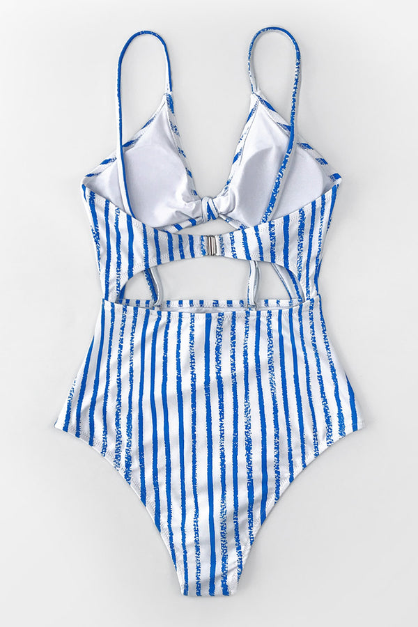 Blue and White Stripe Knotted One-Piece Swimsuit