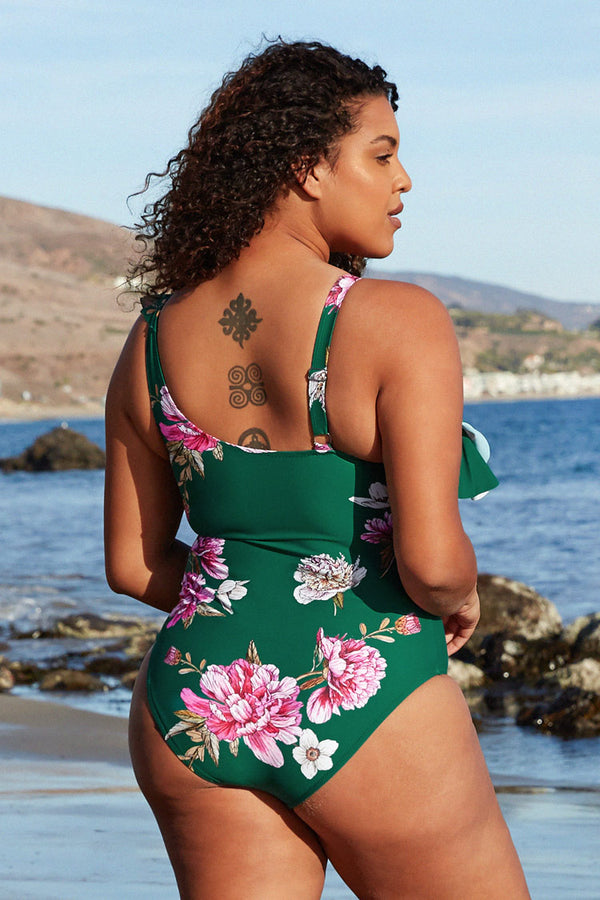 Floral Ruffle Plus Size One Piece Swimsuit