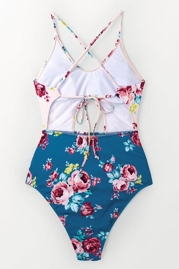 Pink And Blue Floral One-Piece Swimsuit