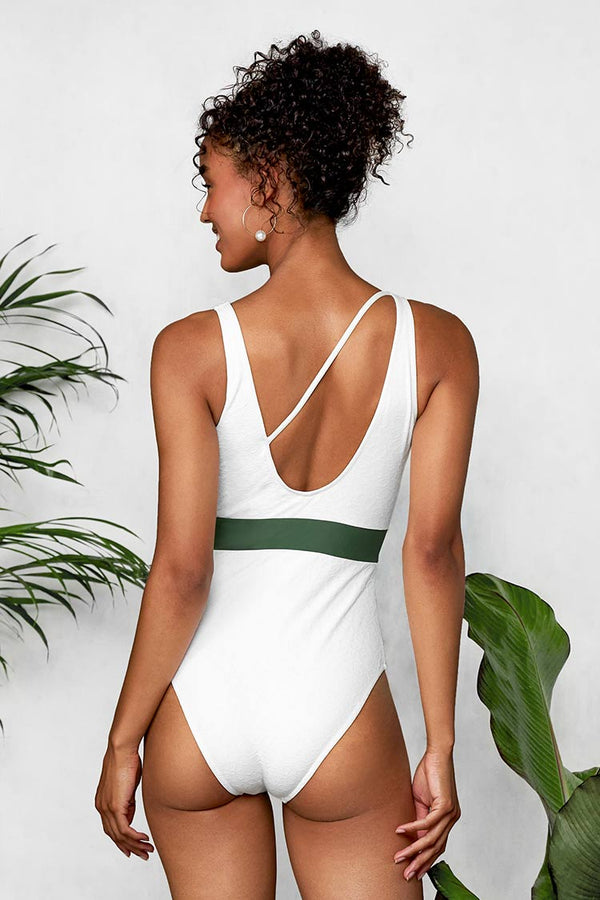 Gorgeous White Plunge One Piece Swimsuit