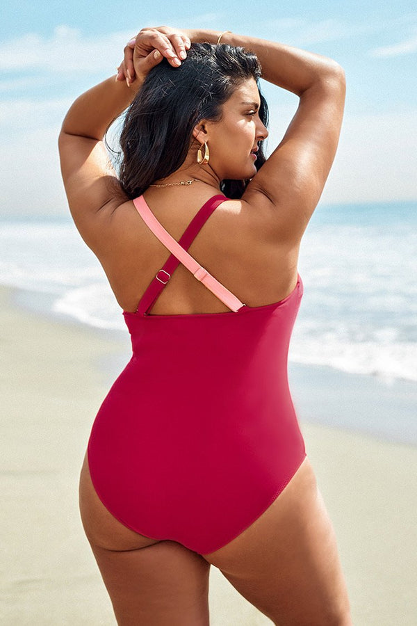 Colorblock V-Neck Plus Size One Piece Swimsuit
