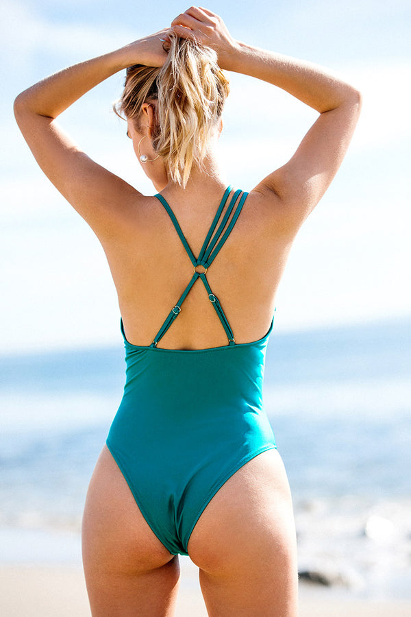 Sea Blue V-Neck One-Piece Swimsuit