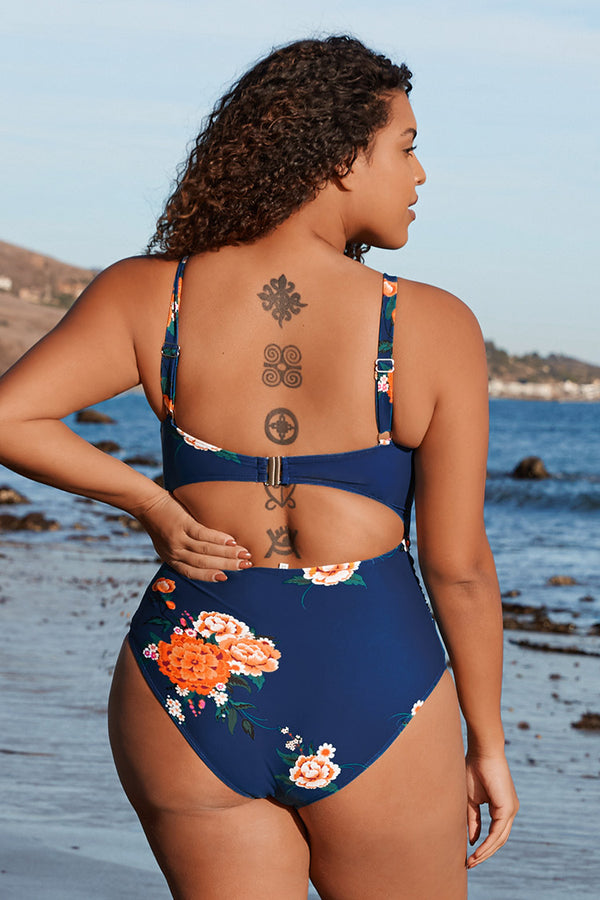 Navy Floral Back Cutout Plus Size One Piece Swimsuit