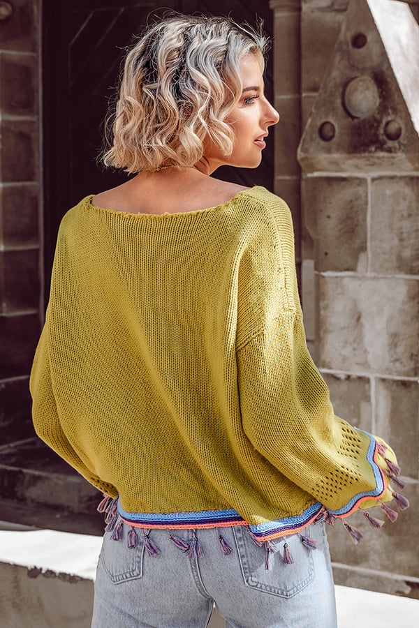 Yellow Tasseled Bell Sleeve Sweater