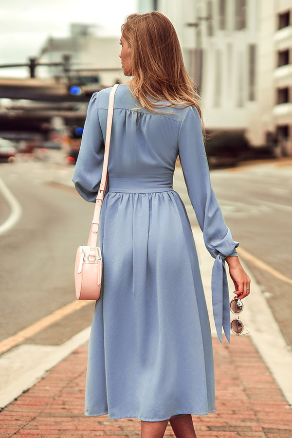 Blue V-neck Buttoned Midi Dress