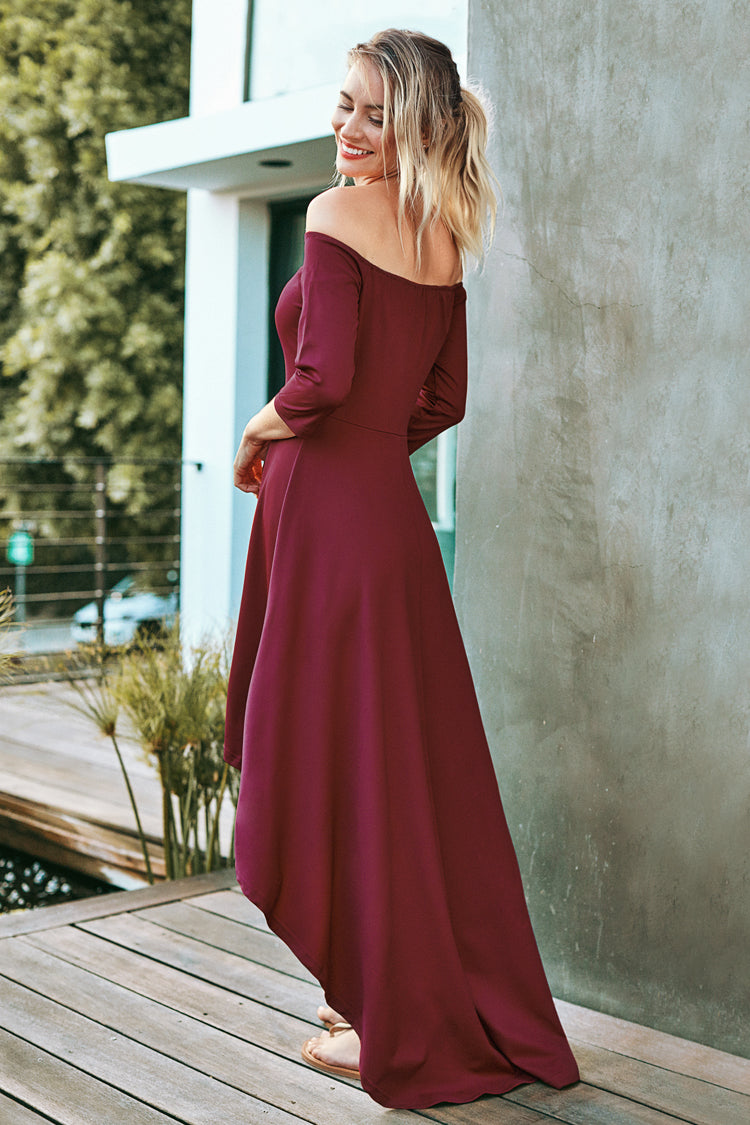 Red Off-The-Shoulder High-Low Dress
