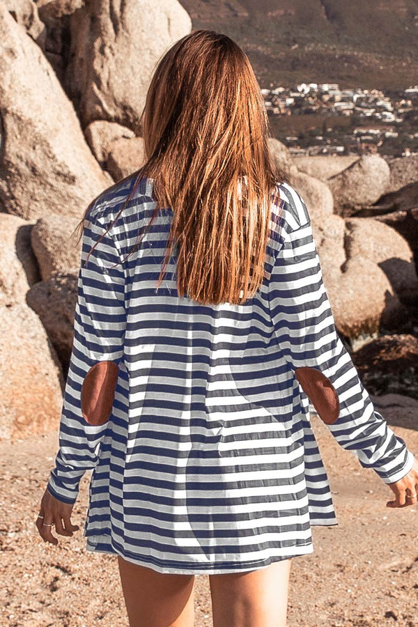 Stripe Long Sleeve Cover Up