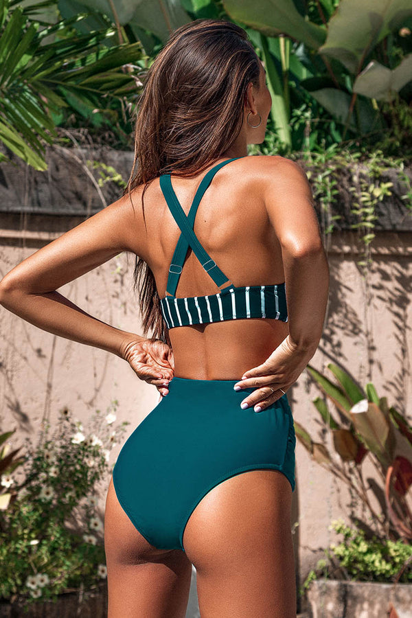 Teal And White Striped High Waisted Bikini