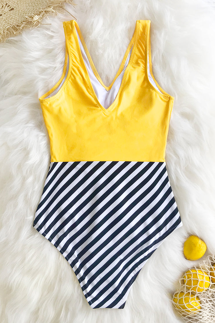 Yellow V-Neck and Striped Bottom One-Piece Swimsuit