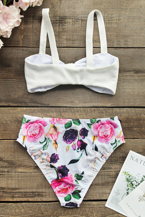 Solid White and Floral Front-Knot High-Waisted Bikini