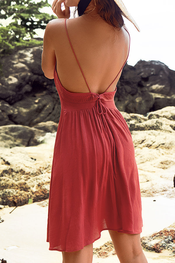 Red Self-Tie Backless Dress
