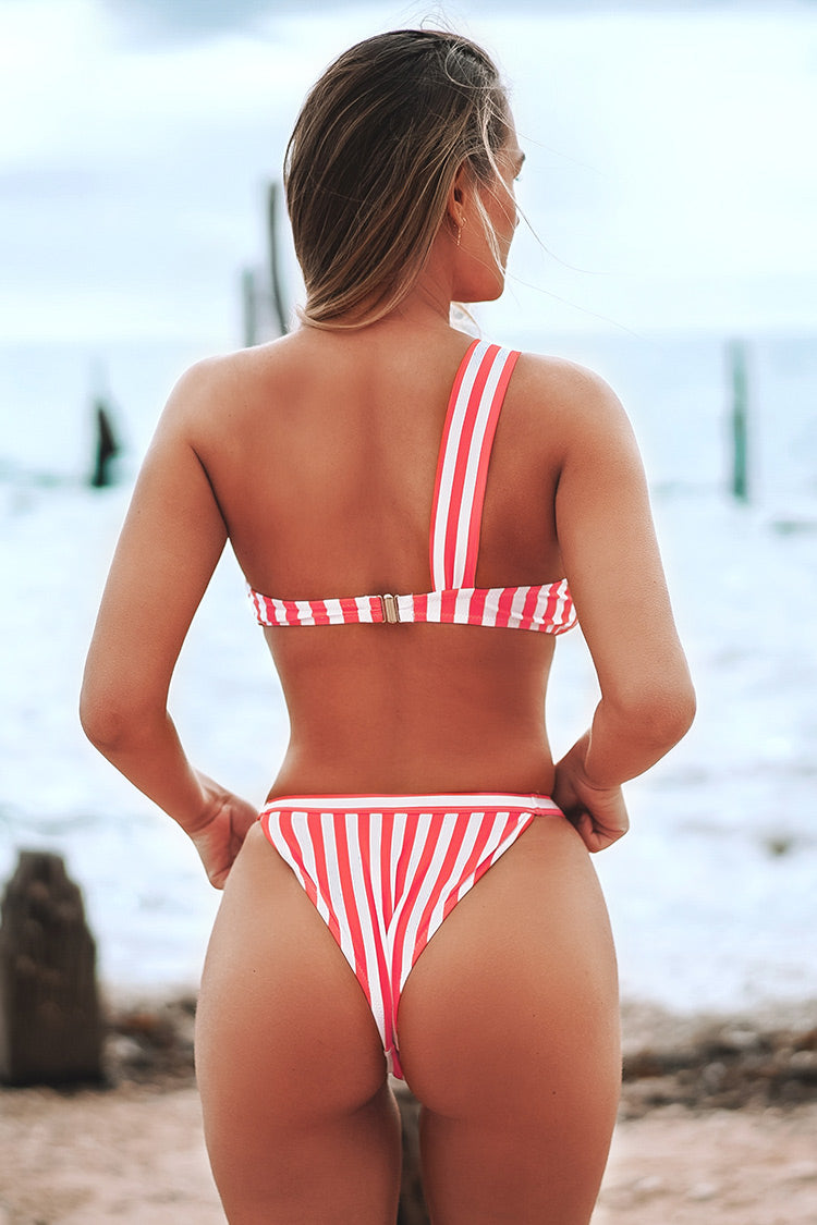 Red and White One Shoulder Striped U-Ring Bikini