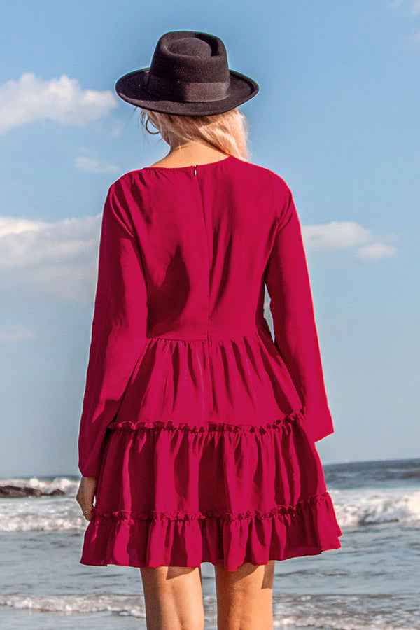 Rose Red Ruffled Long Sleeve Dress