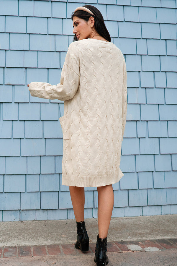 Creamy White Textured Long Cardigan