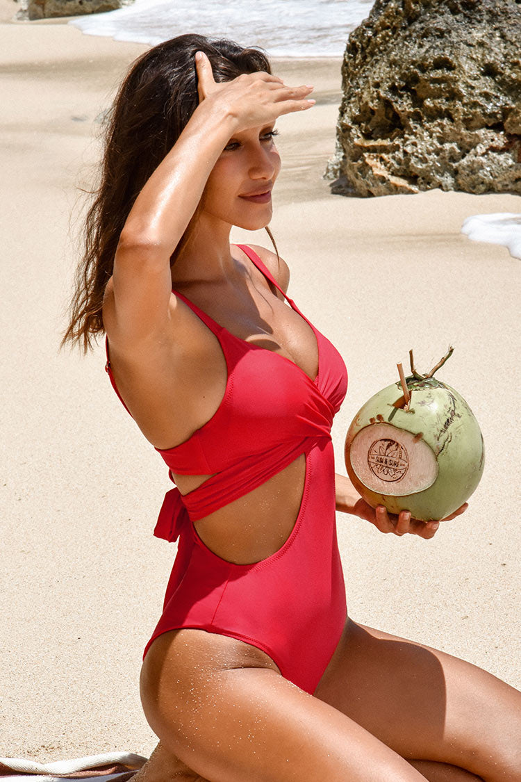 Red Cutout One Piece Swimsuit with Moulded Cups