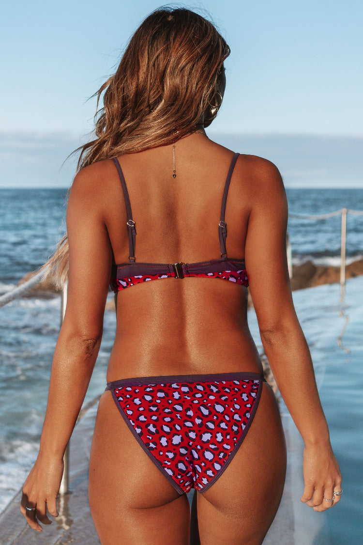 Red and Purple Leopard Bikini