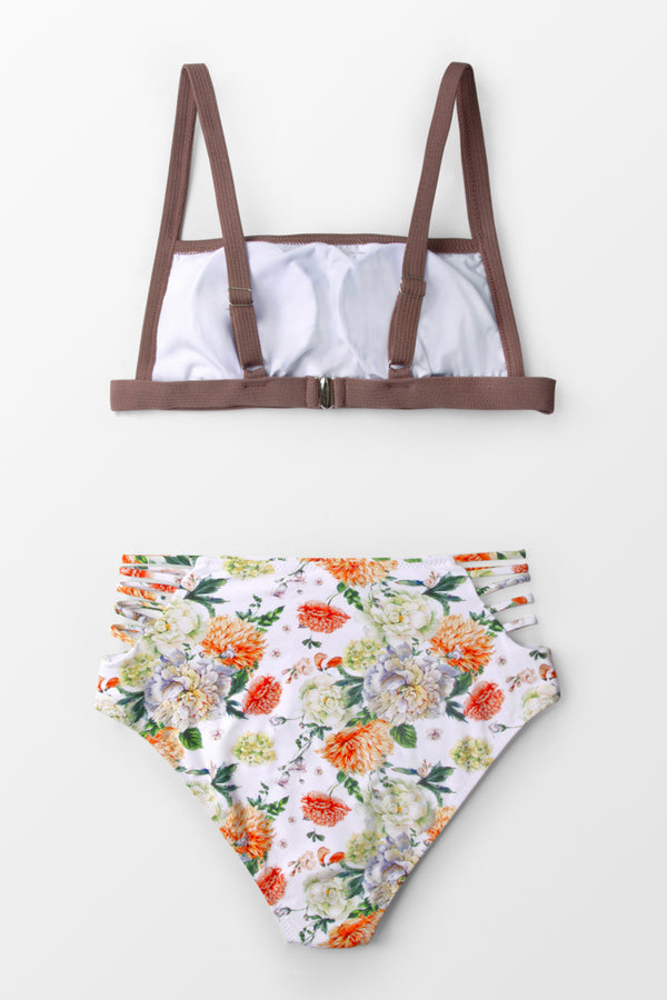 Dusty Rose And Floral High-waisted Bikini