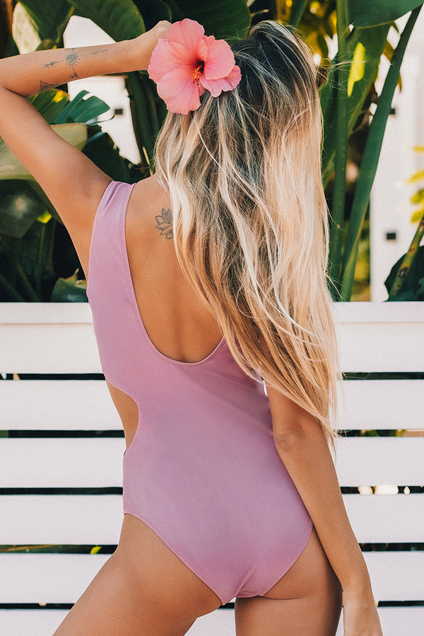 Lilac Twist Cut Out One-Piece Swimsuit