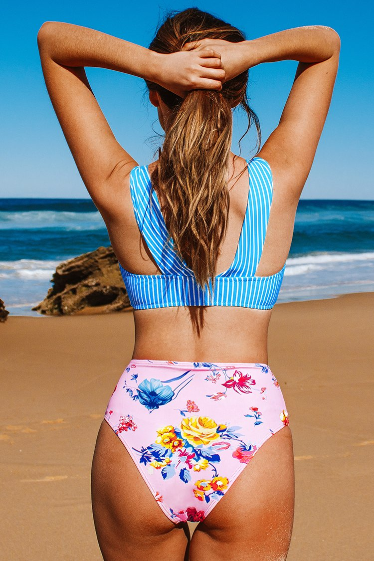 Pastel Stripes and Florals High-Waisted Bikini
