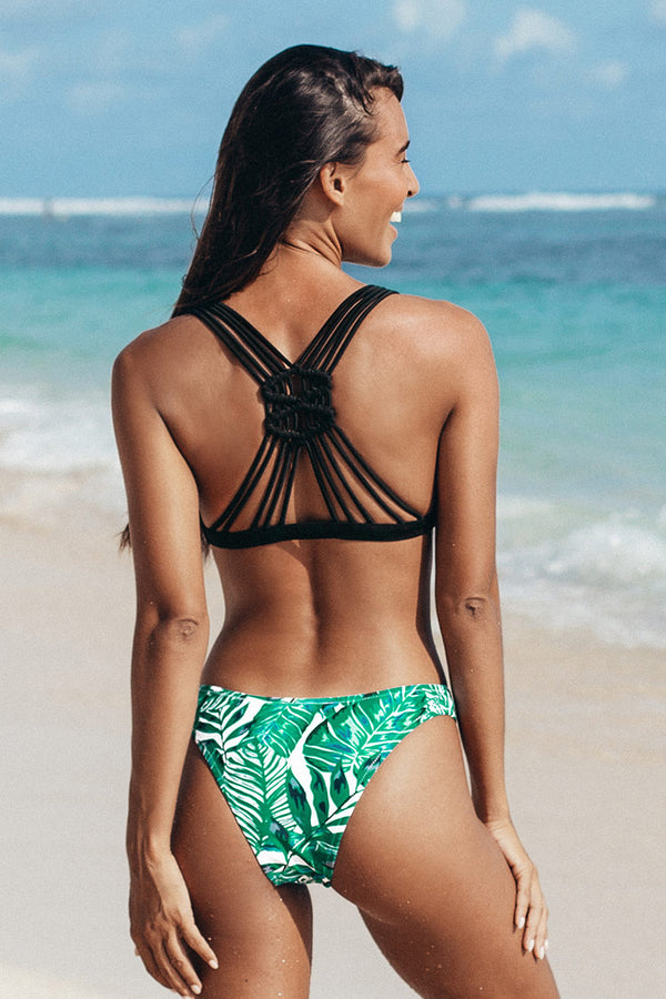 Black and Leafy Strappy Cutout Bikini