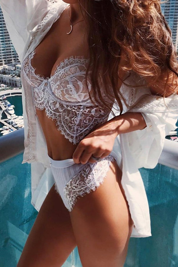 White Lace Lingerie With High Waist Bottom