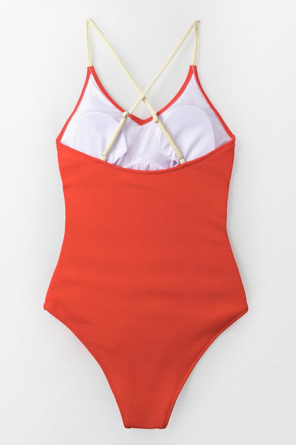 Red and Beige Colorblock One-Piece Swimsuit