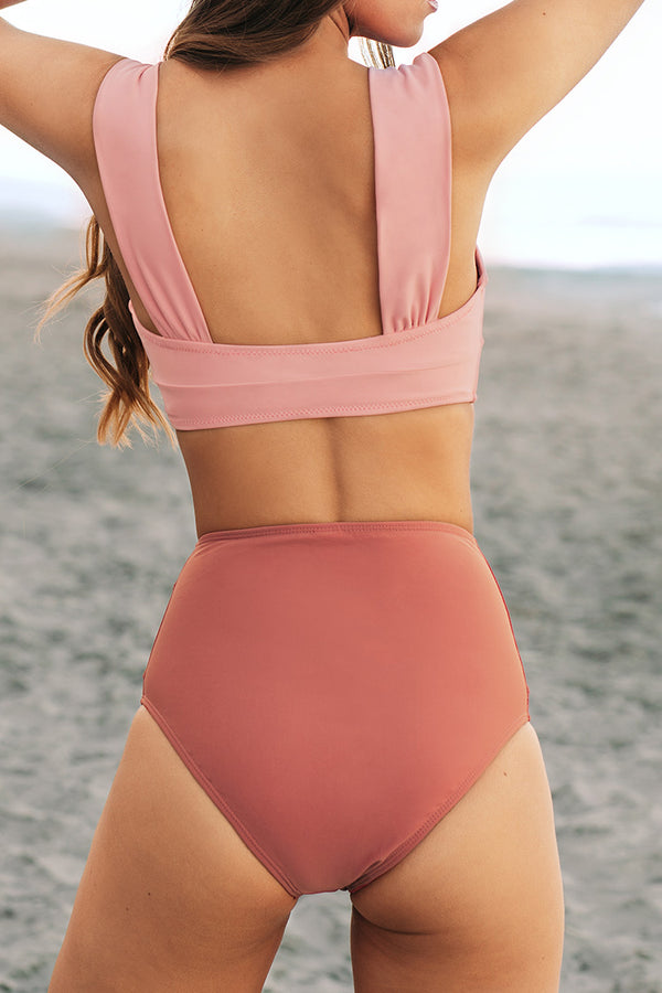 Sweet Pink and Red High Waisted Bikini