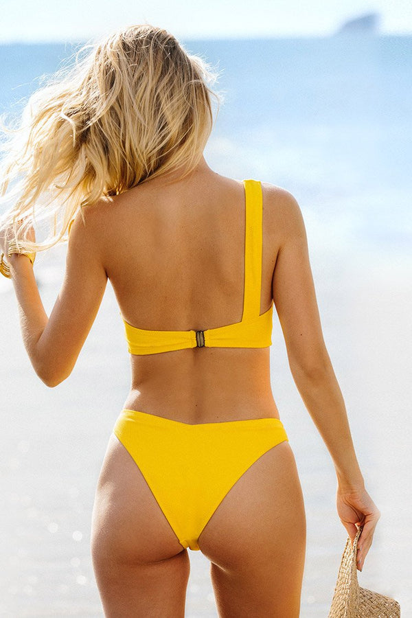 Yellow One Shoulder Bikini with Tie Details
