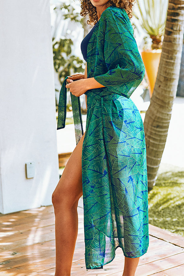 Green Palm Leaf Print Maxi Cover Up