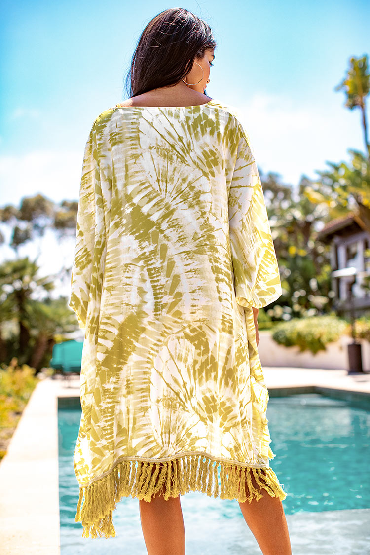 Yellow Tie-Dye Tassel Trim Cover Up