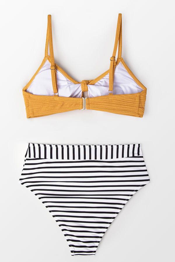 Knotted Yellow Bikini with Striped High-Waist Bottom