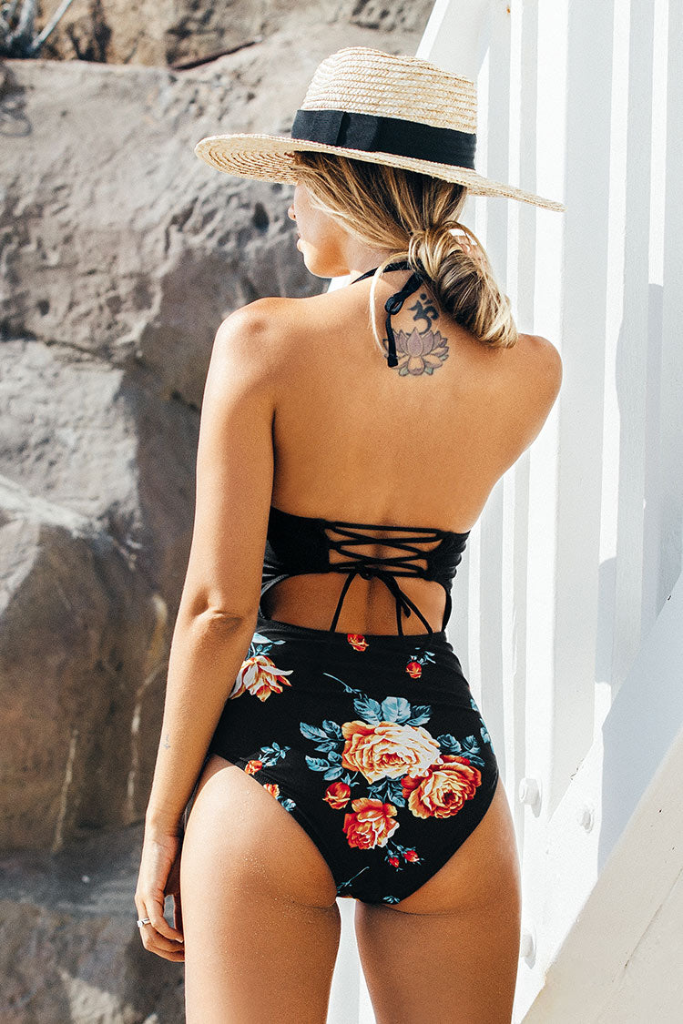 Black Floral Print Halter One Piece Swimsuit