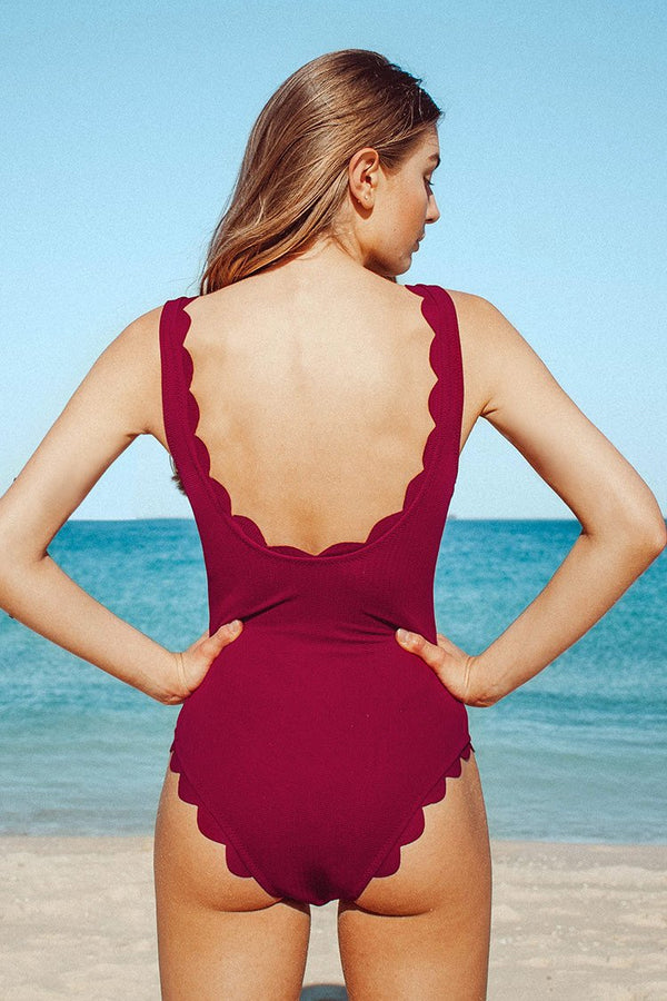 Red Scalloped One-Piece Swimsuit