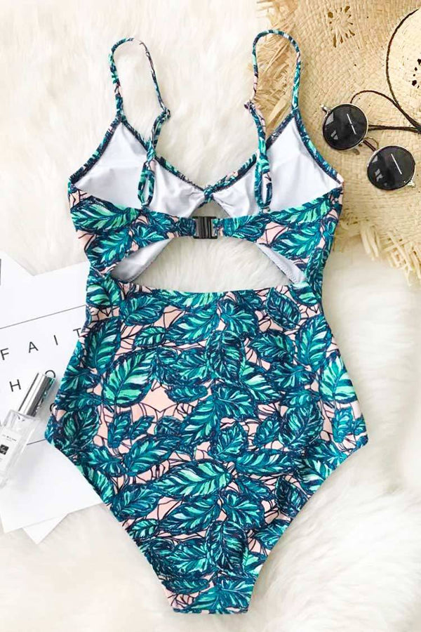 Lush Leaves Print One-piece Swimsuit